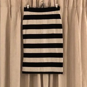 H&M Black/Heathered Grey Striped Midi